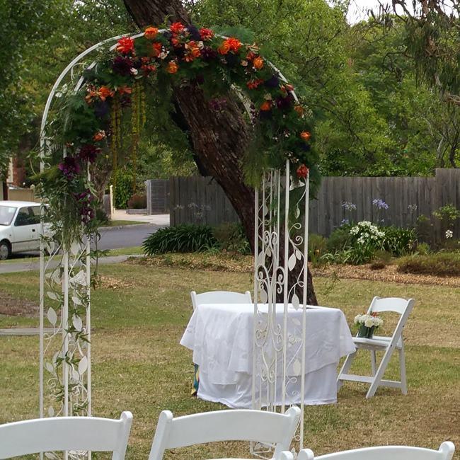 WEDDING ARCH HIRE OPTION 50 - Metal Wedding arch with fresh flowers $290.00