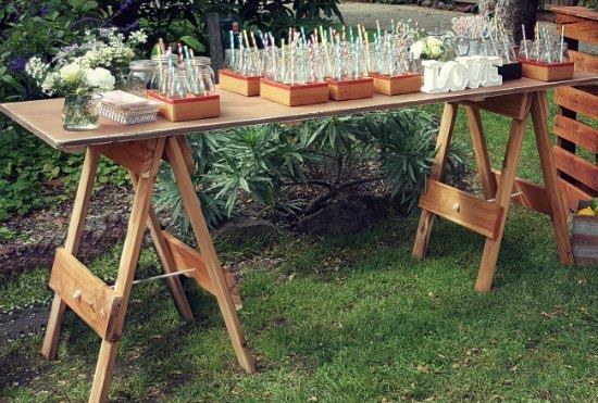 Drink Station with Rustic wooden trestle table for hire