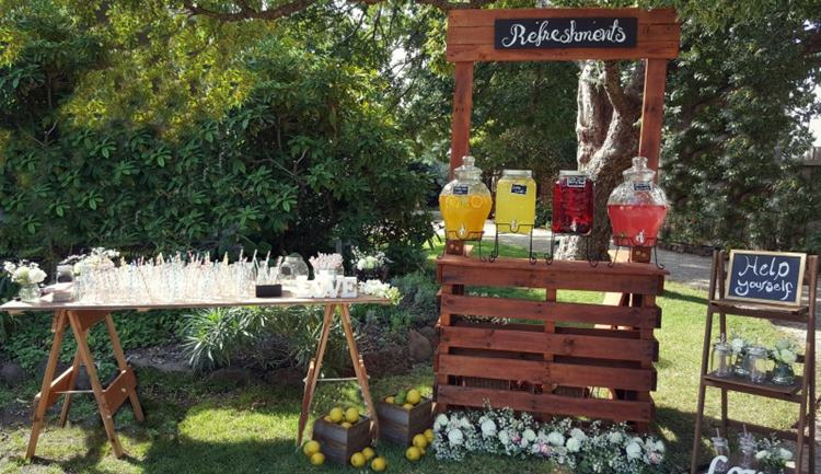 Rustic Timber Bar wedding drink station