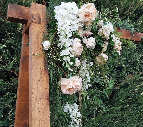 flowers on swing