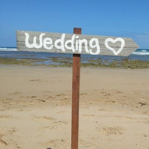 Rustic timber wedding sign