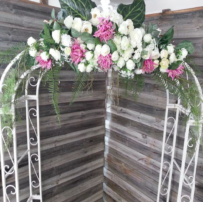 hire wedding arch with flowers