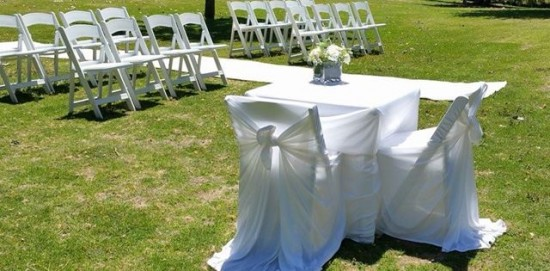 wedding chair hire registy signing table