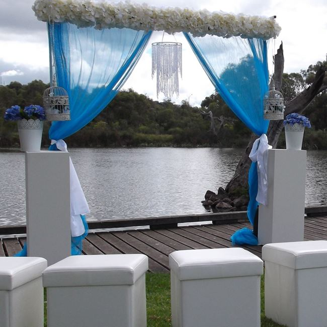 Blue and white wedding backdrop