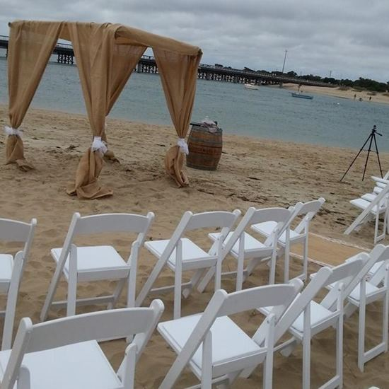 Burlap wedding arch hire