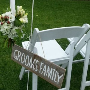 grooms family wedding sign