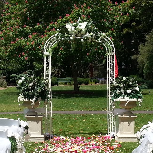 Garden wedding arch with flowers