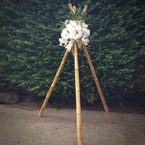 Wedding tripods flower urn pedestals wedding hire melbourne bamboo wedding tripods junglespirit Choice Image