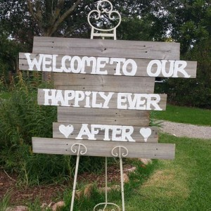 Timber wedding sign