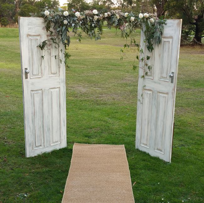 wedding doors with flowers & Wedding Arch Hire -Backdrops-Arbours Weddings Melbourne
