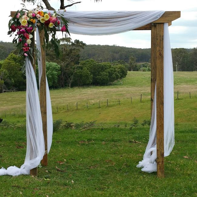 Rustic wedding arch hire