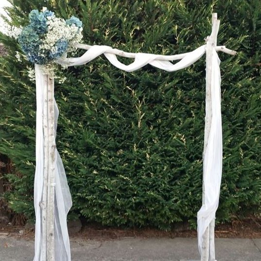 Birch wedding arch with flowers