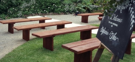 Timber bench seating for hire