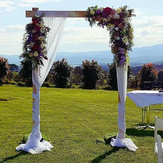 wooden wedding arbour