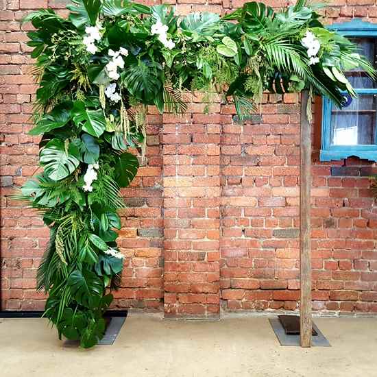 Monstera leaf wedding arch
