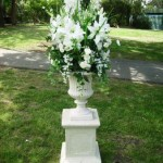 Flower urn and weddding flowers