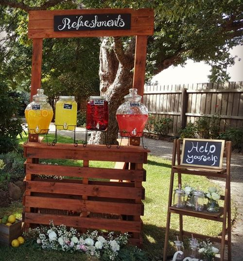 Drink Station with rustic timber bar