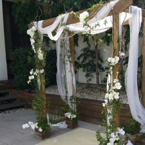 wooden Wedding Arches with vines
