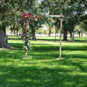 wooden wedding arbour flowers and gum