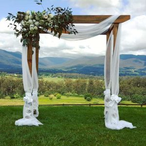 Wooden wedding arch hire