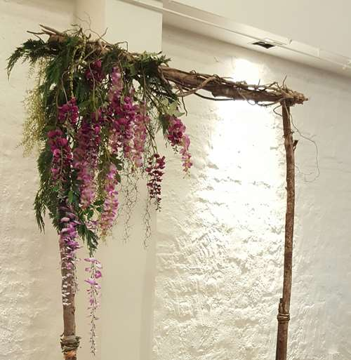 Hanging wisteria wedding